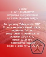 В Норильске вновь объявлено штормовое предупреждение
